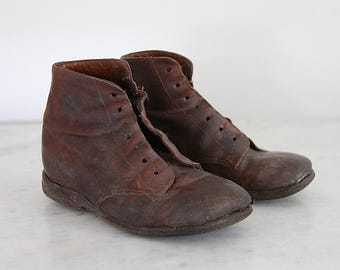 Antique French Handmade Childs Leather Shoe Boots, Parisian Boots, Jeanne D'arc Living French Nordic Home Decor