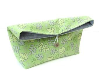 Fold over clutch handbag, button closure, green purple cotton purse, Spring bag