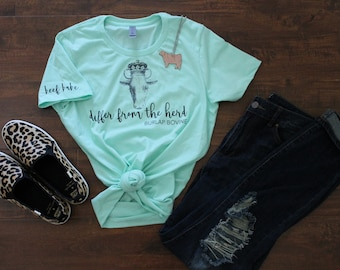 Mint Differ From the Herd Burlap Bovine Tee