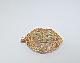14k Gold And Turquoise Vintage Pin