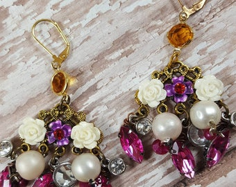 pink earrings- garden jewelry- chandelier earrings- assemblage jewelry- upcycled earrings- hand made- gift for mom- FashionRedoux