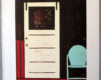 Hand printed 4 color reductive linoleum block print: Enter or take a seat, retro chair, sliding door, red, blue, yellow, black porch