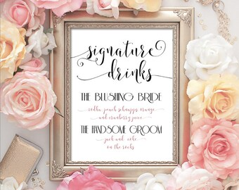 Signature Drinks - Printable Digital Download - Signature Wedding or Party Drink Printable