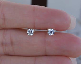 3MM Round Cz Stud Earrings. High Quality Cz Stud Earrings. Post Earrings. Small Studs. Sterling Silver Nickel Free Stud Earrings.