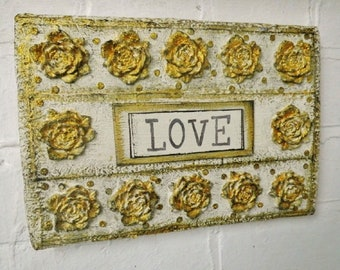 Handmade, Shabby Chic, Gold Wall Art, Love, Vintage Style, Ecofriendly Gift - for Wedding, Anniversary or Housewarming - Recycled Materials