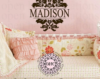Damask Personalized Name Wall Decal for Baby Girl or Boy Nursery Kids Room - Monogram Name Vinyl Wall Art FN0604