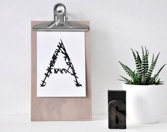 Buchstabe A, Postkarte, Illustration, schwarz weiß, Alphabet, Zeichnung, Geschenk, Deko, Dekoration, Grußkarte, Papier, Karte, Typographie
