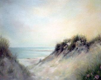 Cape Cod Painting, Dunes and Sand, Watercolor, Beach Original Art Print, Ocean Painting, Beach Art Print, Surf, Landscape Wall Art Decor