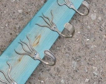 Turquoise Stained 5 Funky Forks Coat Rack Recycled Silverware