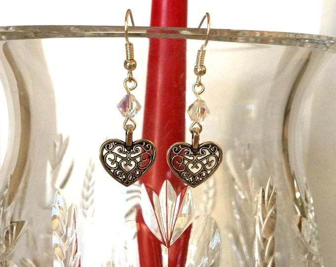 Swarovski Crystal and Filigree Heart Earrings, Antique Silver Earrings, Crystal Drop Earrings, Romantic Earrings, Gift for Her.
