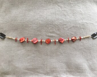 Bead Circlet, Hairpiece - Red - Mother of Pearl, Gold, Pearl, Coral - Hair Jewelry, One of a Kind, Ceremony, Ritual, Meditation