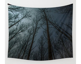 Wall Tapestry, Tree Tapestry, Wall Hanging, Trees Forest Wanderlust Night Sky, Nature Decor, Bohemian Decor, Photo Wall Art, Home Decor