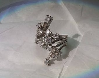 Vintage Sterling Silver Woman's Ring, 13 Clear Stones