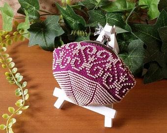 Beaded Pouch * Paisley pattern (purple)