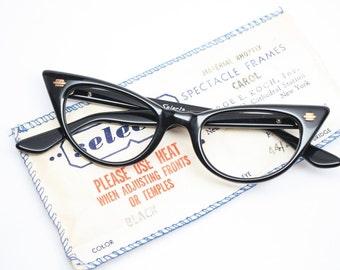 Small cat eye glasses black  vintage cateye eyeglasses