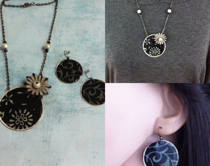 Jewelry Set - Necklace & Earrings - paper jewelry - paper flowers - floral jewellery - asymmetric medallion necklace- circle paper earrings