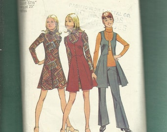 1972 Simplicity 5186 Flared Jumper Vest with Scoop Neck & Flared Puff Sleeve Dress and Pants Size 10