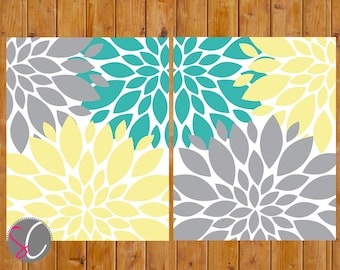 Floral Flower Burst Gray Yellow Teal Wall Baby Decor Bedroom Bathroom  set of 2 - 8x10 High Resolution JPG Files Printable