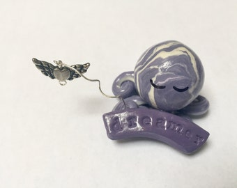 Dreamer Octopus Mini Marble Friend in dusty purple and white with detachable winged heart extension