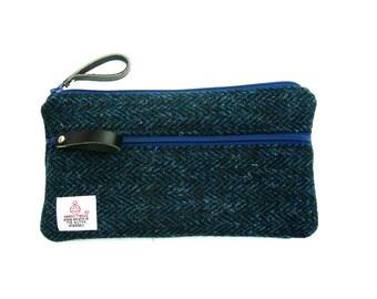 Padded Harris Tweed phone pouch. Zipped Harris Tweed smartphone pouch. Dark blue herringbone Harris Tweed iPhone 6 plus pouch.