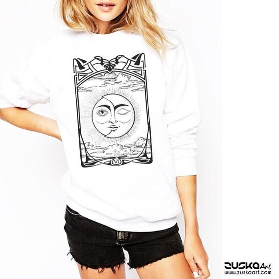 The Lovers VI Tarot Card | Unisex Crewneck Sweatshirt | Sun and Moon | Cosmic Wedding | Solar Eclipse | Original ink artwork | ZuskaArt