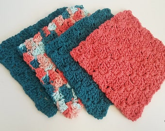 4 Crochet Dishcloths in Coral Seas