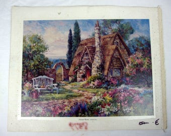 """Barbara Mock Giclee Print on Canvas """"Secluded Garden"""" Unstretched"""