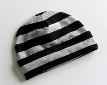 Cotton Jersey Knit Baby Beanie Hat - Girl/Boy/Neutral - Black & Gray Stripe -  0-3 month, 3-6 month