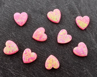 Pink Opal Heart Bead, 10mm, Lab Created, Synthetic, Pink Beads, Heart Beads, 10 mm, Love