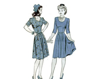 40s Fit and Flare Dress pattern SALE Swing Dance Dress vintage 31-25.5-34 Sundress pattern Advance 3304
