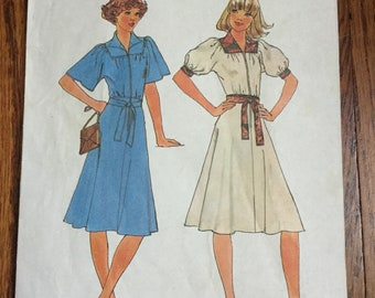 Vintage Simplicity 7845 Dress Sewing Pattern Size 14, No Instructions, 1976, Cut But Complete, 70s Dress Pattern