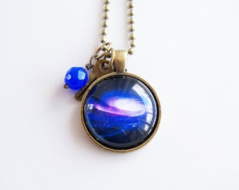 Space Necklace -  1 Inch Galaxy Pendant - Outer Space Jewelry - Galaxy Necklace -  You Choose Bead and Charm