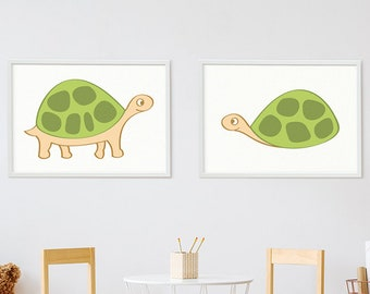 2 x Poster turtle print children's room