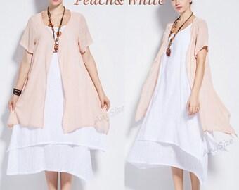 Anysize tri-layered soft linen&cotton Two-piece Dress plus size dress plus size tops Spring Summer plus size clothing Y96