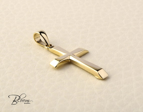 Solid Gold Cross Necklace 14K Gold Cross Pendant Necklace for