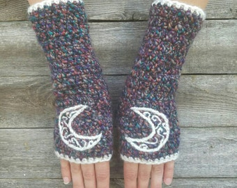 Fingerless Gloves with Crescent Moon, Gray and Teal, Womens Fingerless Gloves, Arm Warmers, Warm Gloves, Hippie, Boho Bohemian MADE TO ORDER
