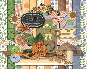 Autumn Home Digital Scrapbooking Elements & Paper