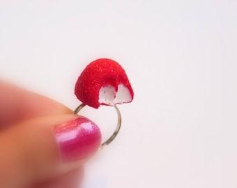Sweet Strawberry bitten ring
