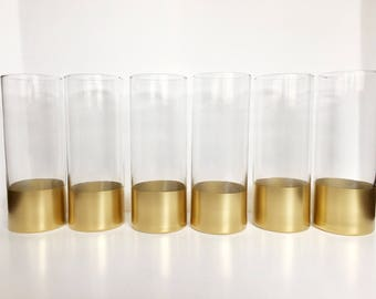 Set Of 6 Gold Dipped Vases,Cylinder Vases, Wedding Centerpiece,Gold Vases,Baptism Centerpiece,Wedding Vases,Gold Centerpiece.