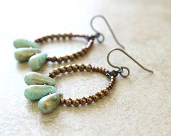 Aqua teardrop earrings, Turquoise teardrops, Beaded Hoop Earrings, antique brass, Boho style, dangly earrings, vintage inspired, Gypsy Style