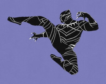 embroidery design Black Panther Superhero 4x4 pes hus jef dst vip exp