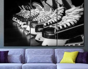 Large Wall Hockey Skates Canvas, Skates canvas, Hockey skates, Hockey print, Ice skates, Hockey wall art, Hockey player gift, Ice hockey art