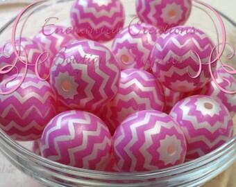 20mm Hot Pink and White Chevron Stripe Pearl Beads Qty 10,Bubblegum Bead, Gumball Beads, Chunky Jewelry Bead, DIY Jewelry Bead