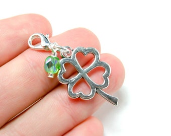 Four Leaf Clover Charm. Double Sided Good Luck Charm. St. Patricks Day Charm. SCC165