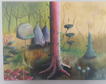 Alice In Wonderland Inspired multicoured Forest scene 18x24 acrylic painting