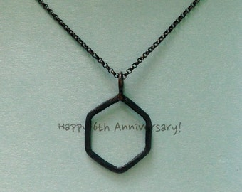 6th Anniversary Gift 3/4 inchs Iron Hexagon Necklace Unisex Geometric Shape Necklace Hand Forged & Hammered Iron Jewelry - made to order