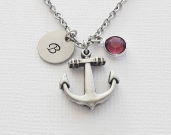 Anchor Necklace Nautical Ship Boat Yacht Navigation Jewelry Swarovski Birthstone Silver Initial Personalized Monogram Hand Stamped
