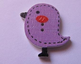 wooden button, bird button, 26mmx25mm, stitching, scrapbooking, various colors
