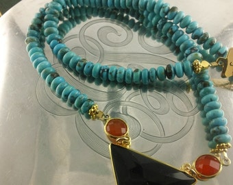 Turquoise I: Polished Chinese Turquoise Necklace with Faceted Black Onyx and Carnellian