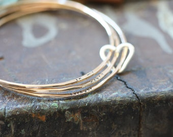 Open Heart Gold Filled Hand stamped personalized bangle set, forged and stamped bracelets with heart